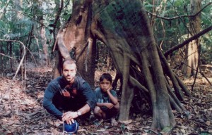 The boy Francenildo and I, in the Amazon, near to a rubber plantation area, in Rondonia State.
