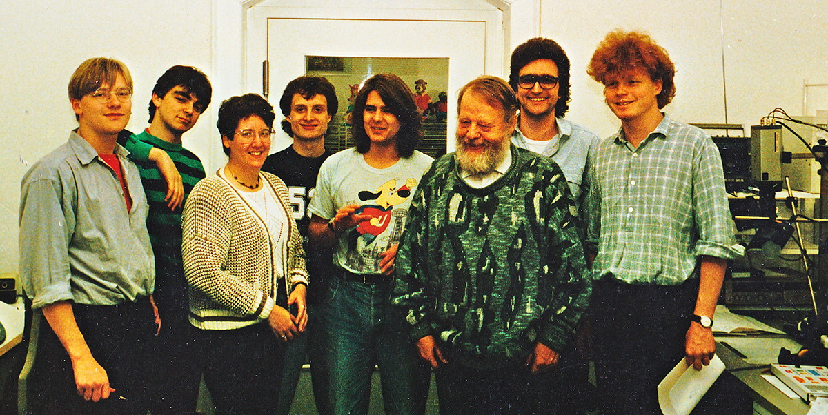 Hahn Film Berlin's photo includes such famous animators as Andi Knight (center) and most of the Danish animators from A-film; Gerhard Hahn has the black hair and glasses.